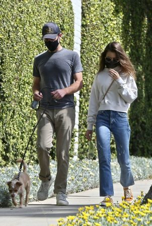 Lily Collins - With her Charlie McDowell stroll in Los Angeles