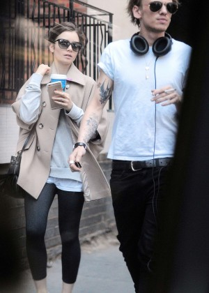 Lily Collins with Jamie Campbell Bower Out in London