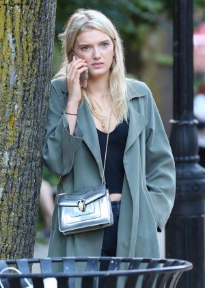Lily Donaldson in Long Coat out and about in NYC