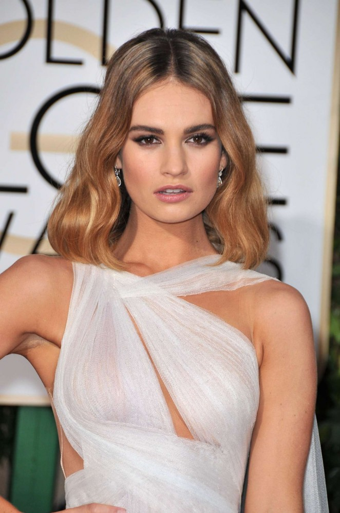 Lily James: 2016 Golden Globe Awards -06