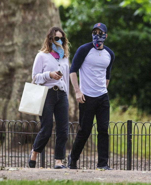 Lily James and Chris Evans - Seen eating ice cream on a date in the park in London