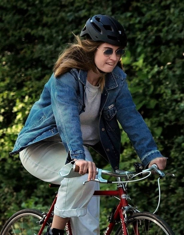 Lily James and Matt Smith - Enjoying a bike ride in North London