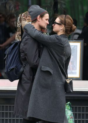 Lily James and Matt Smith - Share a kiss in Mayfair