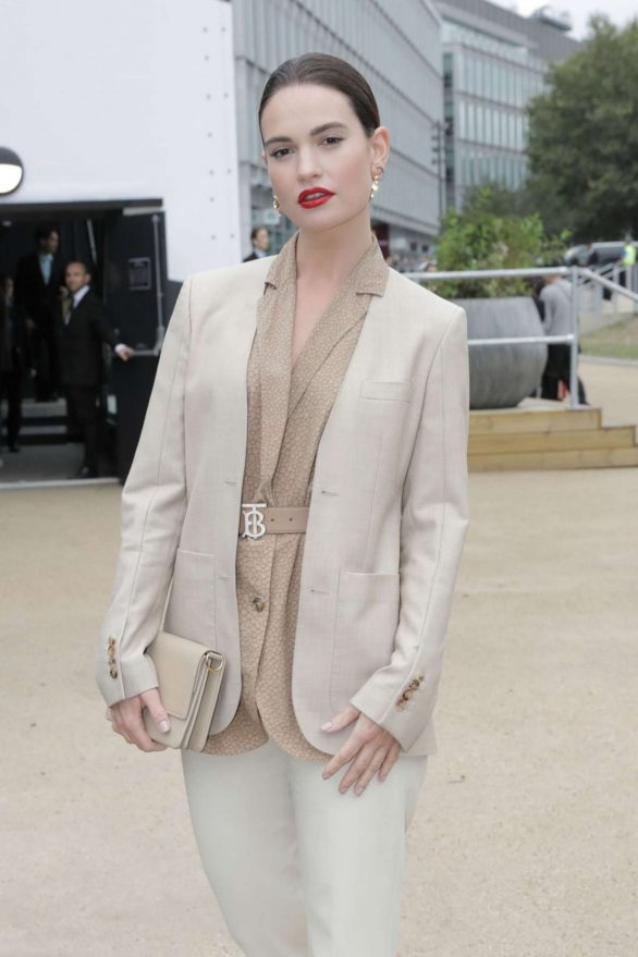 Lily James - Arrives at Burberry Fashion Show at LFW in London