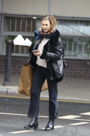 Lily James - Arriving at a studio in West London