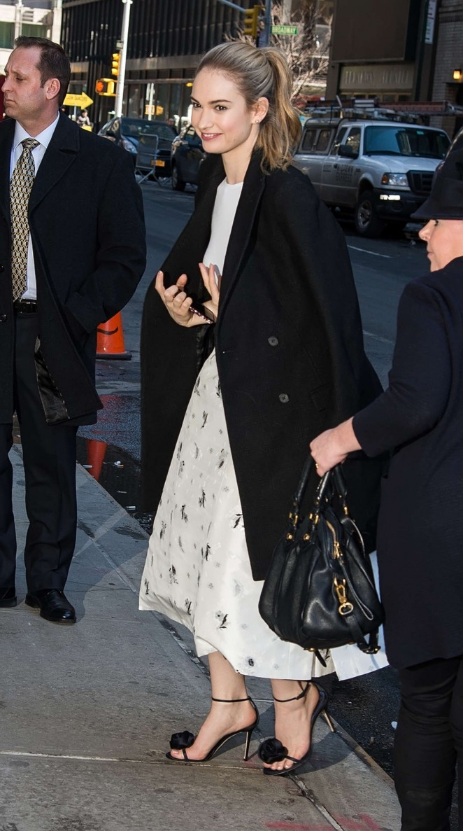 Lily James: Arriving at The Late Show with David Letterman -02