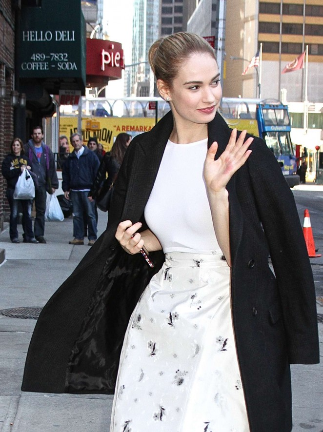 Lily James: Arriving at The Late Show with David Letterman -03