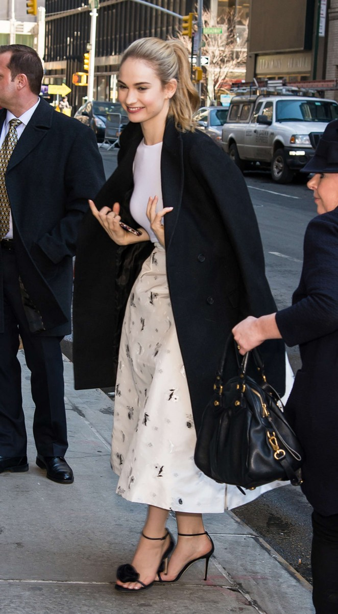 Lily James: Arriving at The Late Show with David Letterman -08