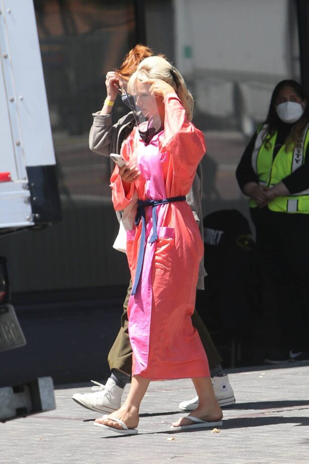 Lily James - As bombshell Pamela Anderson on set of the Hulu drama 'Pam and Tommy' in Los Angeles