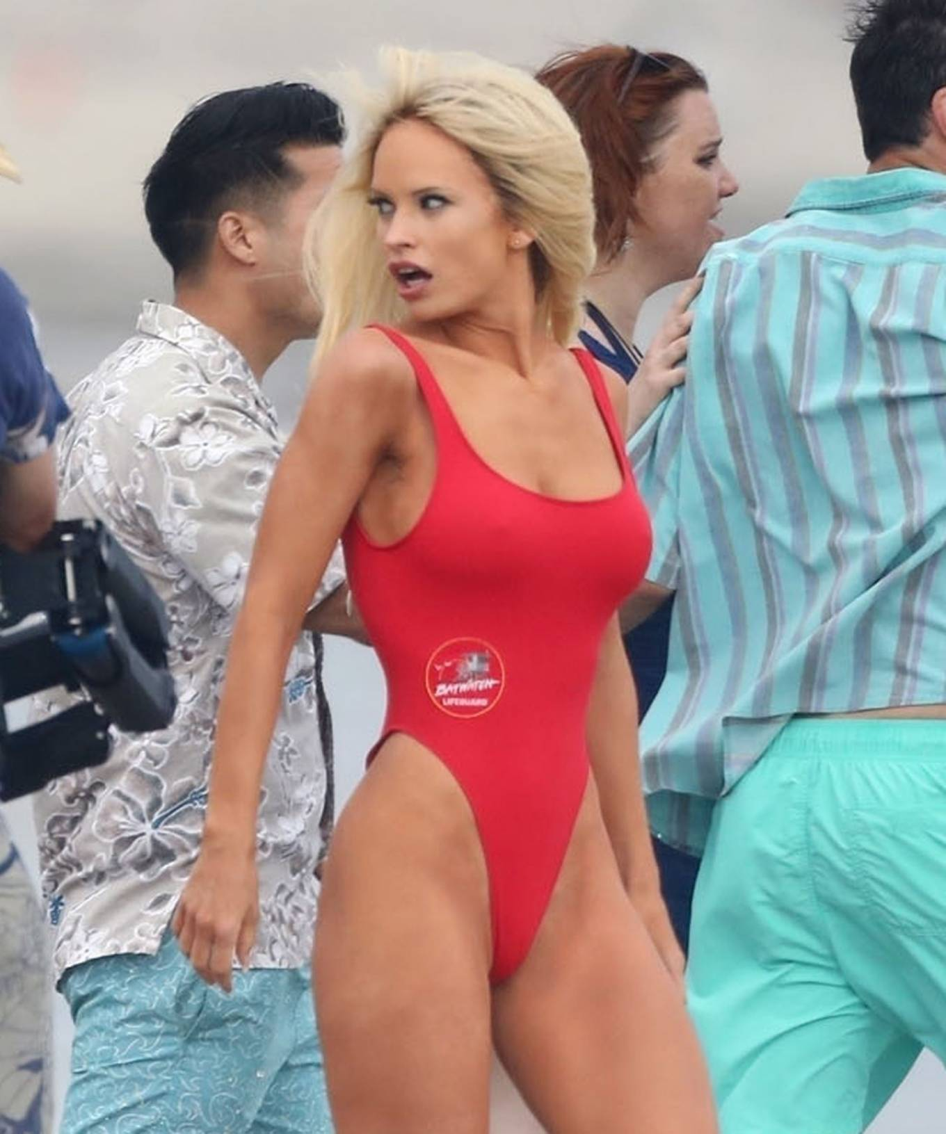 Lily James 2021 : Lily James – As Pamela Anderson in red swimsuit films Pam and Tommy in Malibu-25
