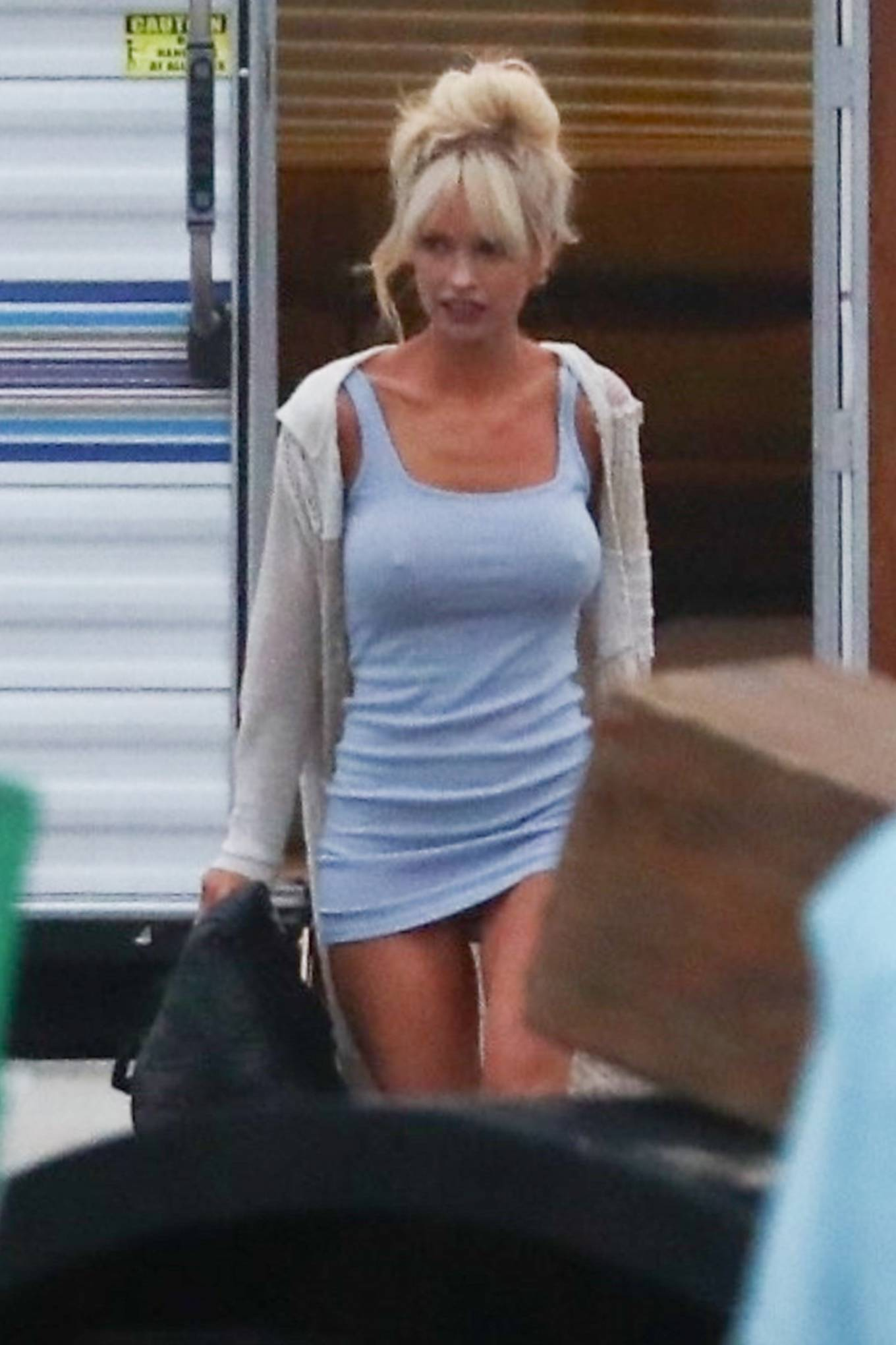 Lily James - As Pamela Anderson on filming a scene for 'Pam and Tommy' in Malibu