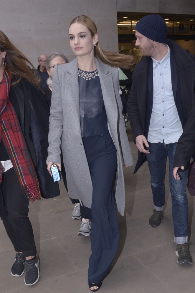 Lily James at BBC Radio 1 in London