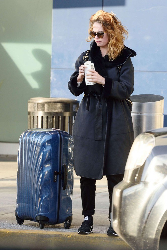Lily James at JFK Airport in New York