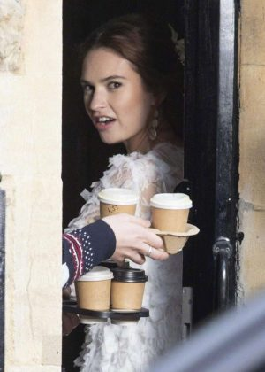 Lily James - Filming 'Four Weddings And A Funeral' in London