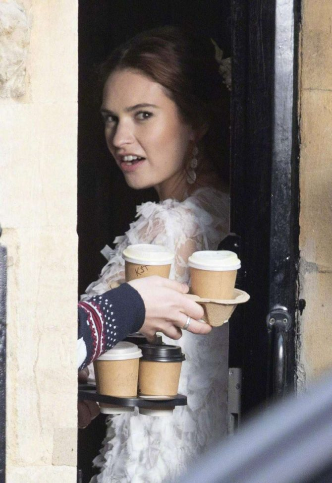 Lily James – Filming 'Four Weddings And A Funeral' in London