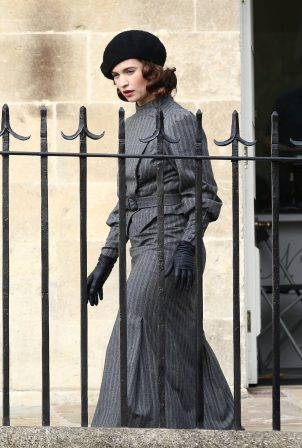 Lily James - Filming 'The Pursuit Of Love' in Bath
