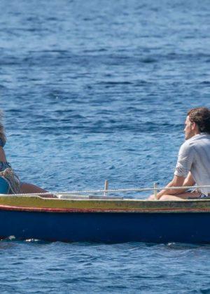 Lily James - In Bikini top on Croatian set of Mamma Mia