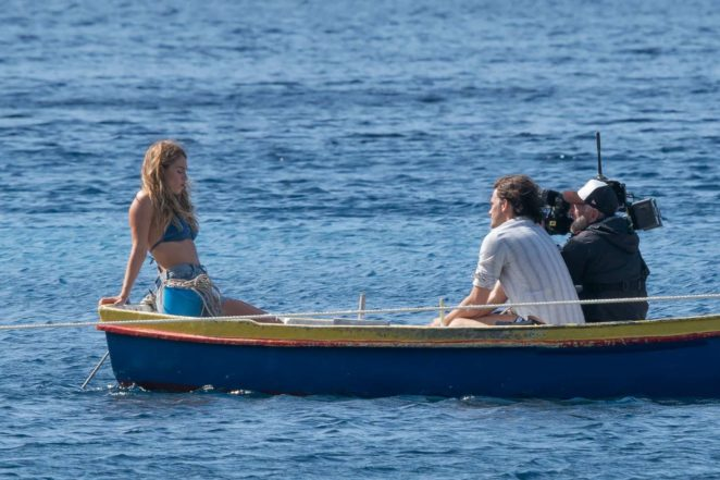 Lily James - In Bikini top on Croatian set of Mamma Mia