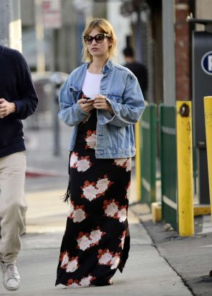 Lily James in Long Dress out in Los Angeles