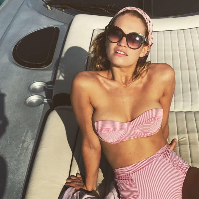 Lily James in Pink Bikini - Instagram