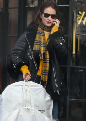 Lily James - Leaving Bowery Hotel in New York City