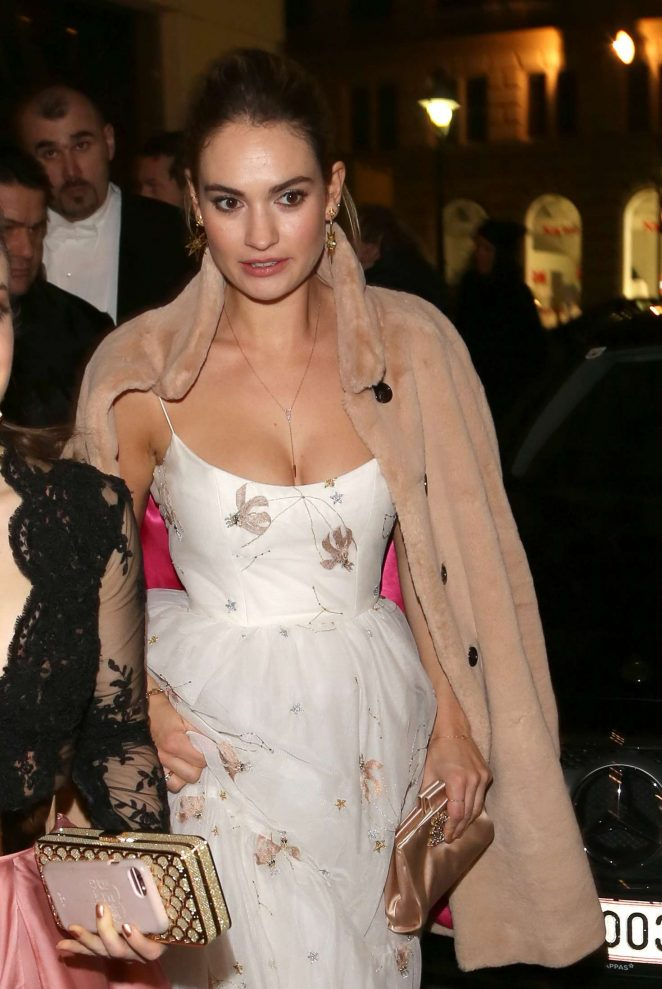 Lily James - Leaving the Hotel LeMeredien in Vienna