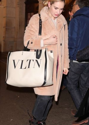 Lily James - Leaving the Noel Coward Theatre in London