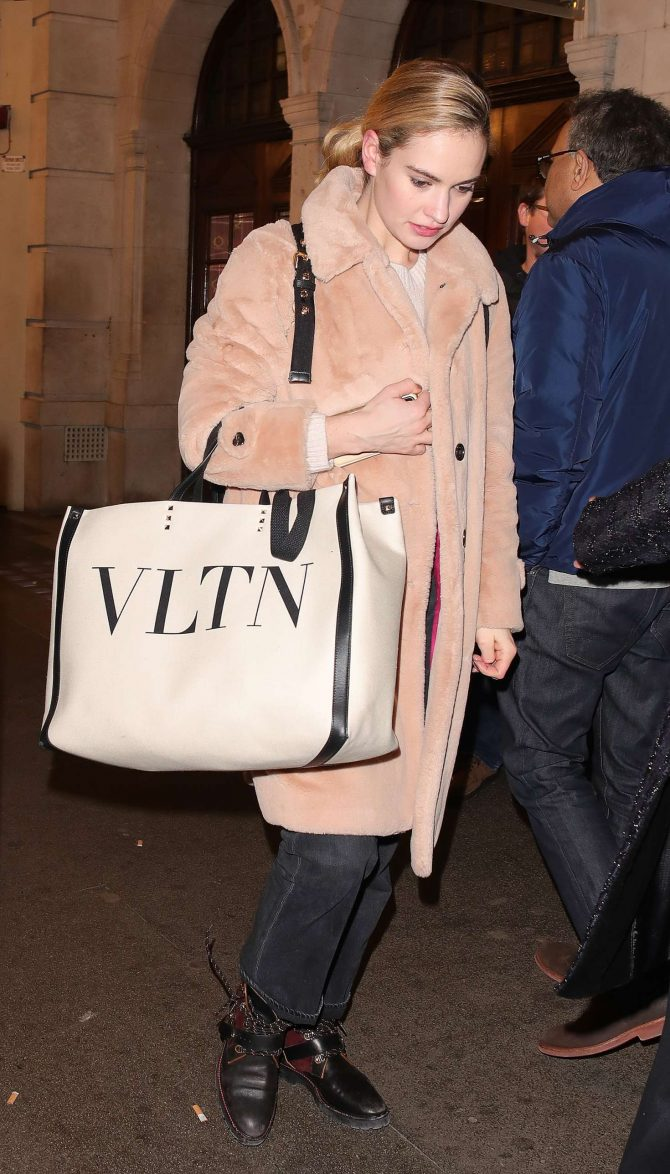 Lily James – Leaving the Noel Coward Theatre in London