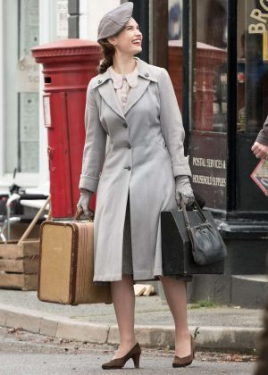 Lily James on set of 'Gurnsey' in London