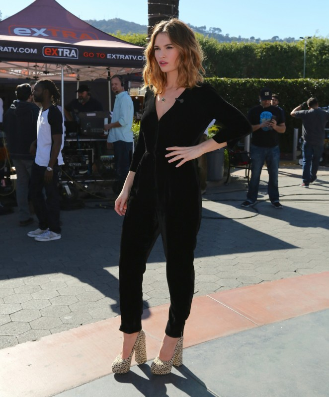 Lily James - On the Set of 'Extra' in Universal City