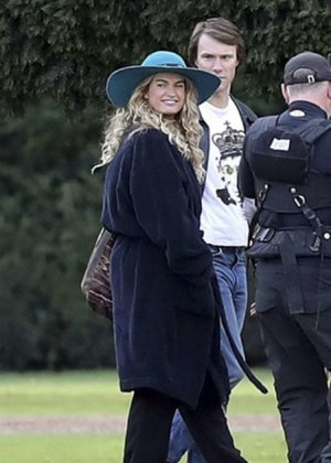 Lily James - On the set of 'Mamma Mia 2' in London