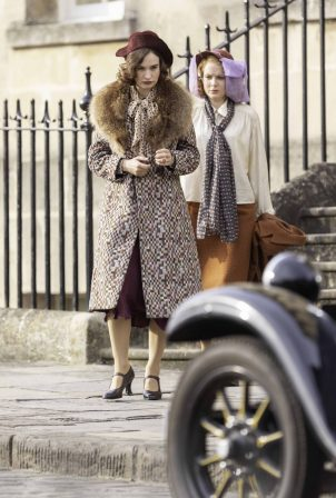 Lily James - On the set of 'The Pursuit Of Love' in Bath