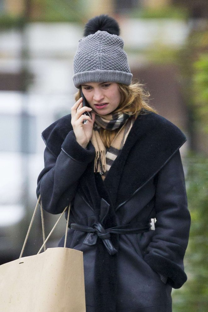 Lily James rout shopping in London