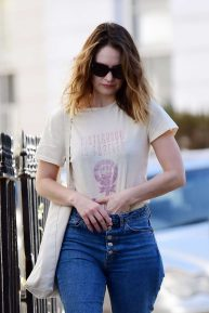 Lily James seen on her 31st Birthday in Primrose Hill