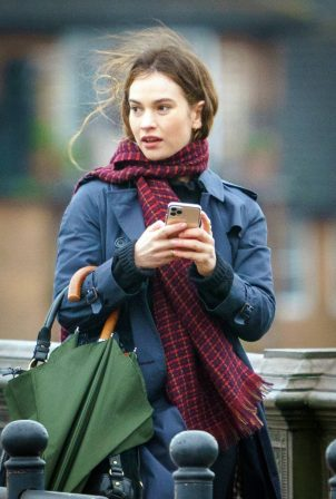 Lily James - Seen on set of What's Love Got To Do With It in London