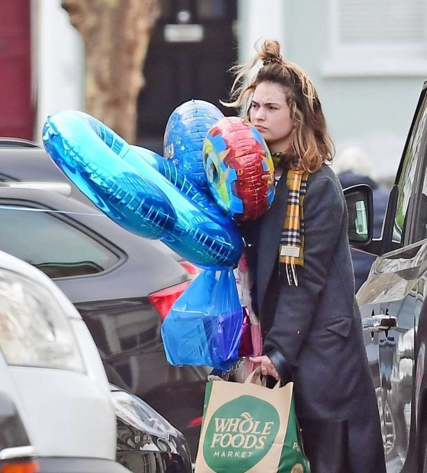 Lily James - Shopping at Whole Foods in London