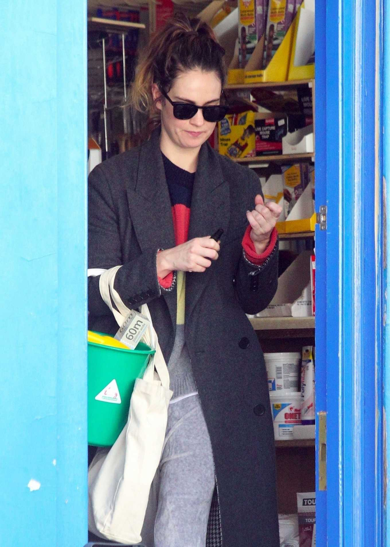 Lily James - Shopping candids during Coronavirus lockdown in London