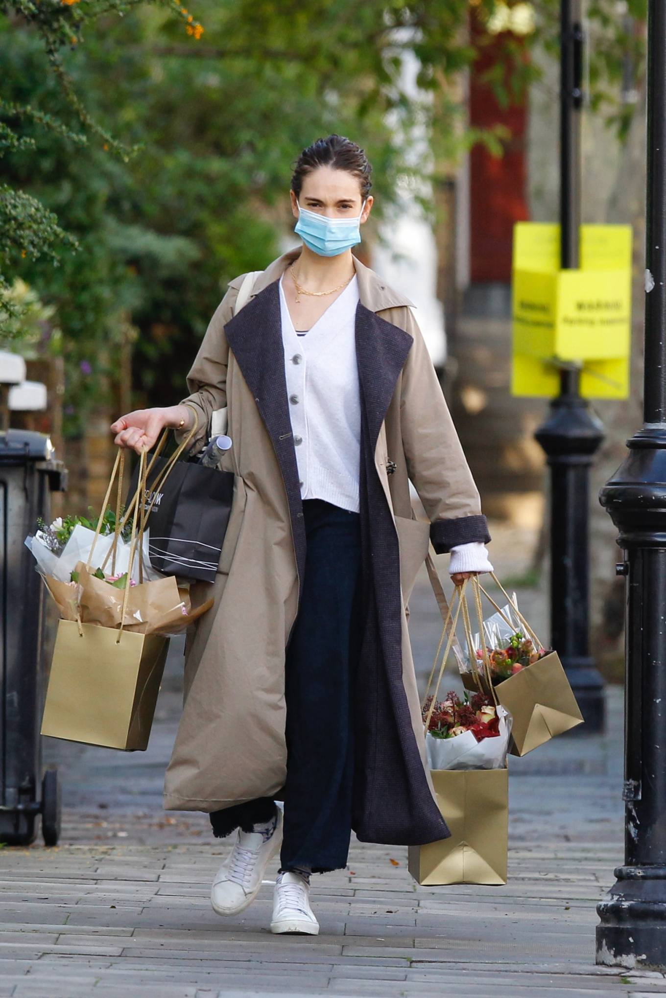 Lily James - Shopping candids near her Primrose Hill home