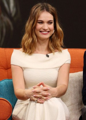 Lily James - Visits 'Despierta America' in Miami