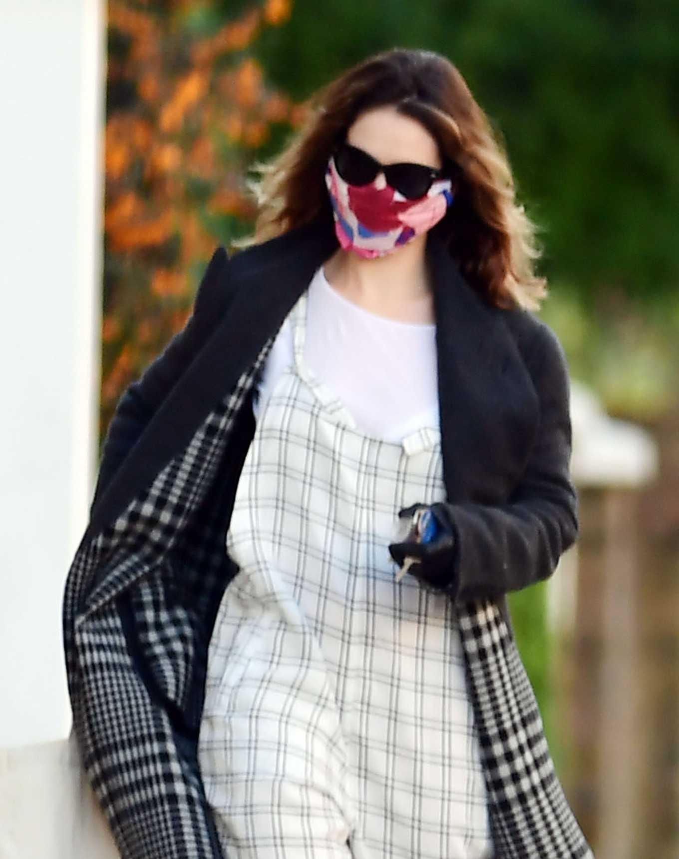 Lily James - Wearing a Anti-Coronavirus mask during lockdown in North London