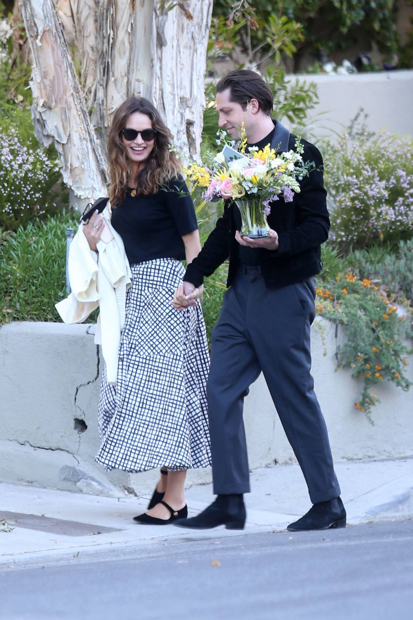 Lily James - With her musician boyfriend Michael Shuman in Los Angeles