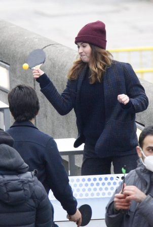 Lily James - With Shazad Latif on set of 'What's Love Got To Do With It' in Southwark