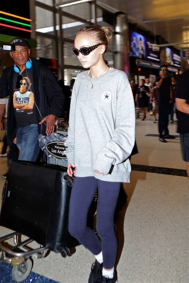 Lily Rose Depp Arrives at LAX Airport in Los Angeles