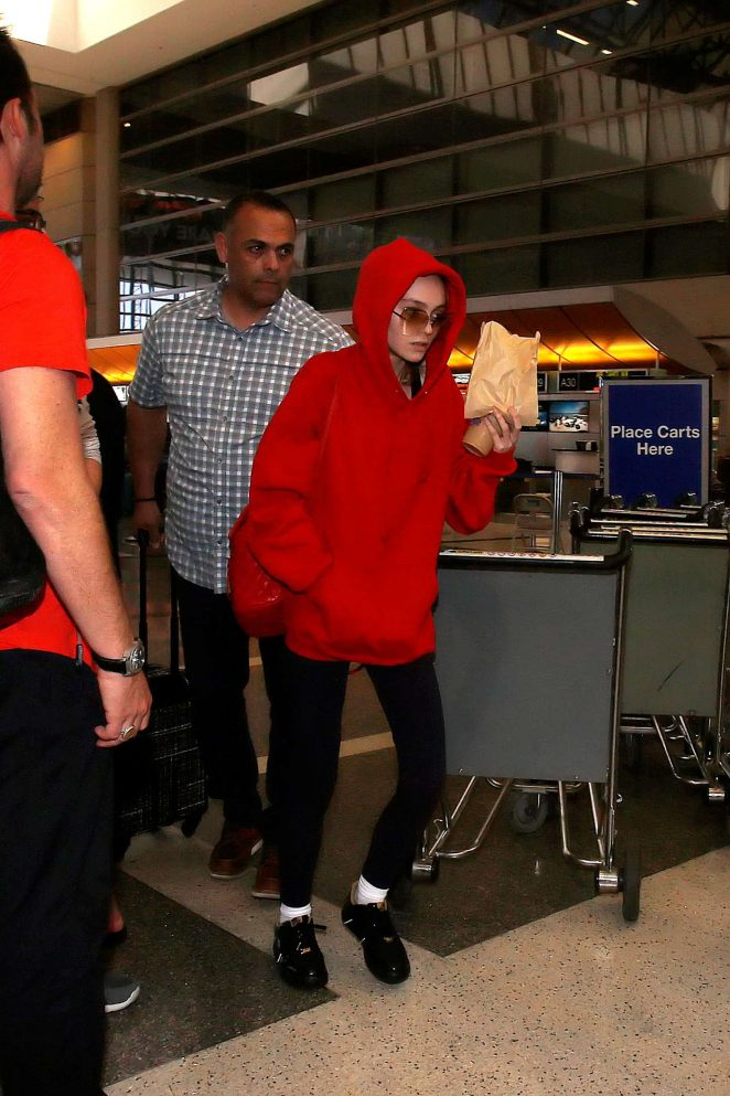 Lily Rose Depp at Los Angeles International Airport