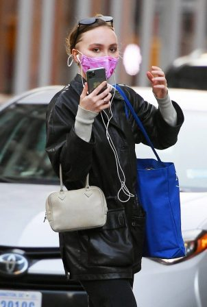 Lily-Rose Depp - In a black leather jacket out in New York