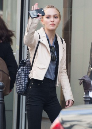 Lily-Rose Depp in Black Jeans out in Paris