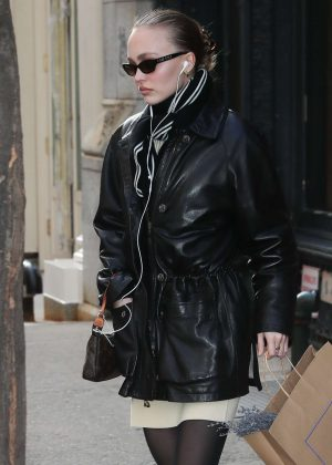 Lily Rose Depp in Leather Jacket - Out in New York City