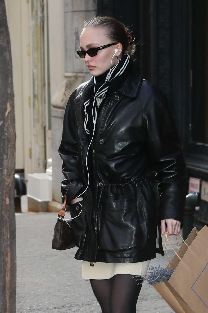 Lily Rose Depp in Leather Jacket – Out in New York City