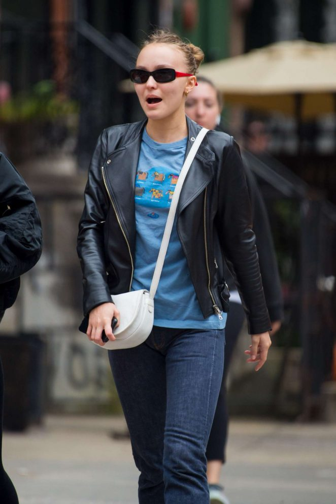 Lily Rose Depp in Leather Jacket - Out in New York