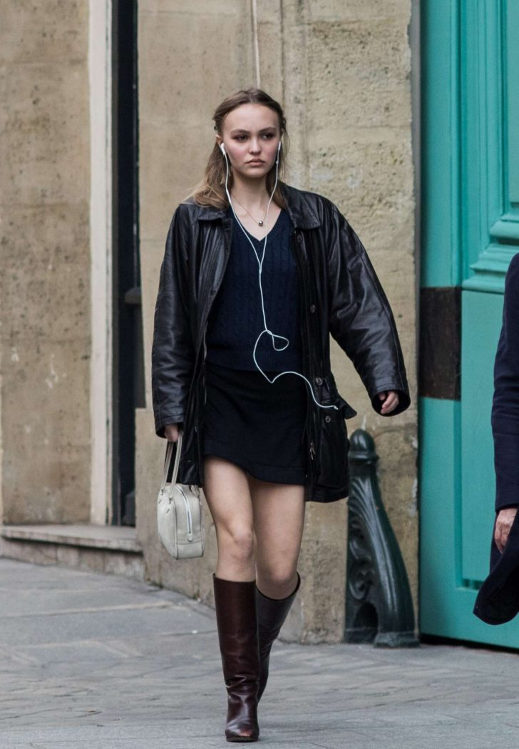 Lily Rose Depp in Mini Dress - Out in Paris